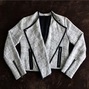 Leather-Trim Lightweight Blazer